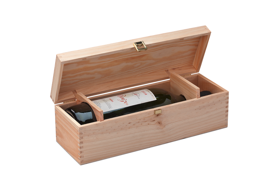 Magnum wood case for wine bottles with guillotine and hinged lid