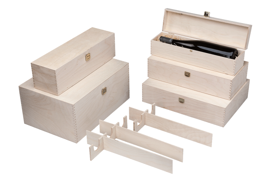 standard wooden wine boxes with hinged lid