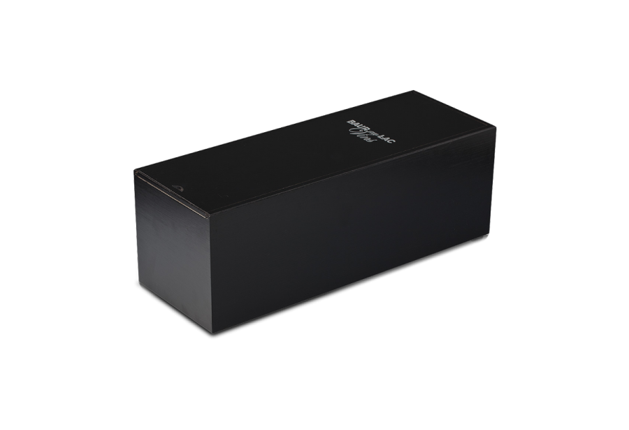 Wooden box for magnum bottles with black varnish and silkscreen treatment