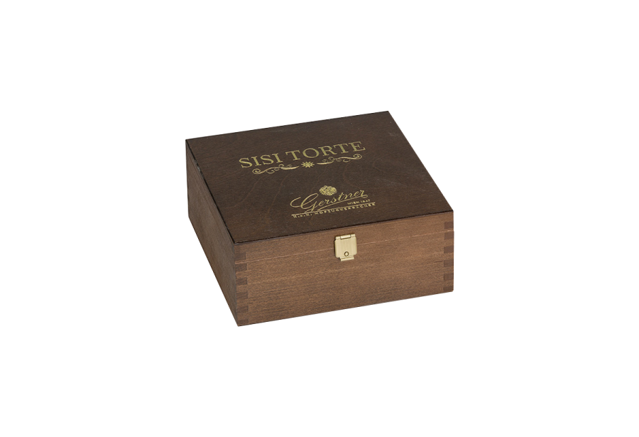 wooden cake box stained and varnished with an embossing print