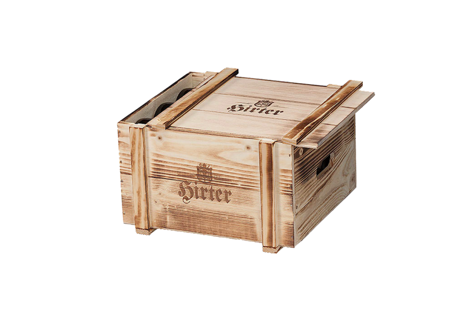 flamed wooden wine box with sliding lid and burn print
