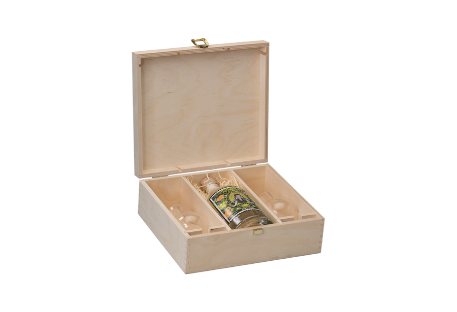 spirit wood crate with hinged lid