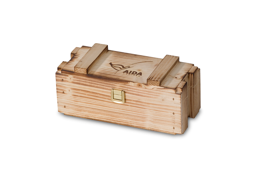 rustic wooden boxes with hinged lid and flamed