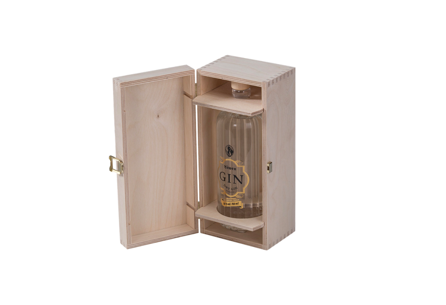 Scheffauer spirits box made of wood with bottle holder and metal closure.